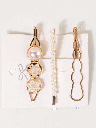 3 Piece Faux Pearl Geometric Hairpins Set - Beige