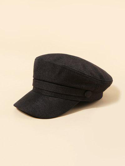 Plain Linen Military Cap - Black