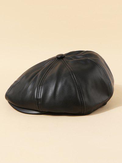 Plain PU Leather Beret Cap - Black