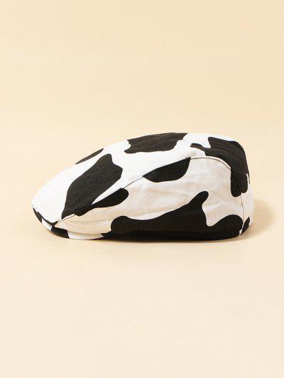 Cow Pattern Vintage Beret Hat - White
