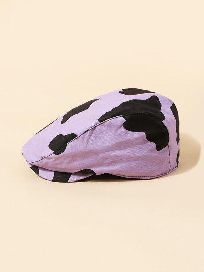 Cow Pattern Vintage Beret Hat - Mauve