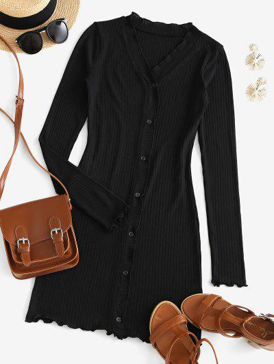 Long Sleeve Ribbed Button Up Mini Dress - Black S