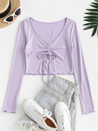 Cut Out Ribbed Cinched Front Tee - Mauve S