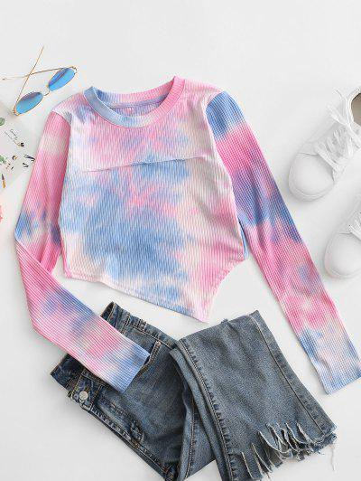 Tie Dye Ribbed Asymmetrical Ripped Tee - Hot Pink M
