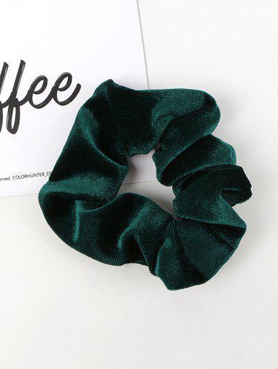 Solid Velour Fabric Scrunchie - Dark Green