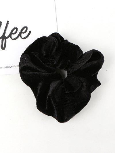 Solid Velour Fabric Scrunchie - Black