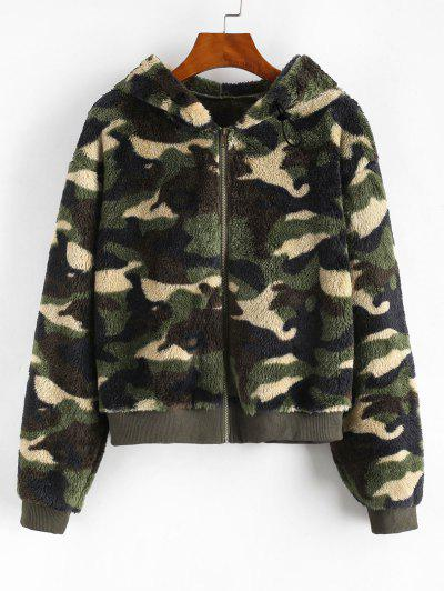 Camouflage Zip Up Hooded Fluffy Jacket - Deep Green L