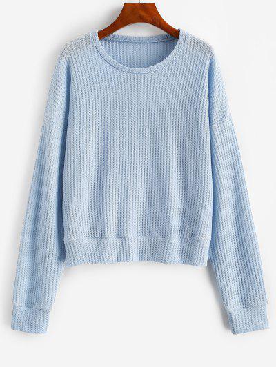 Drop Shoulder Plain Knitted Sweatshirt - Light Blue Xl