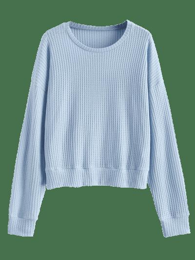 Drop Shoulder Plain Knitted Sweatshirt