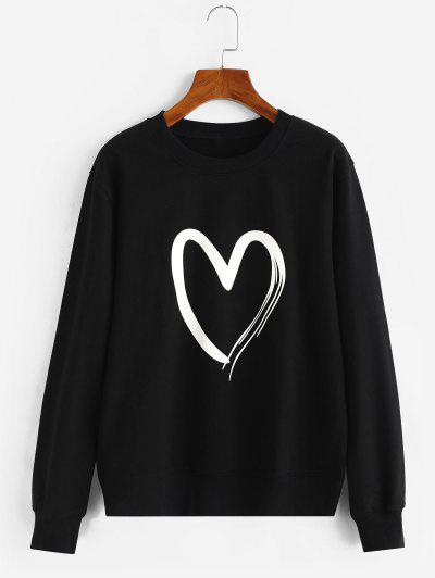 Heart Graphic Cotton Pullover Sweatshirt - Black S