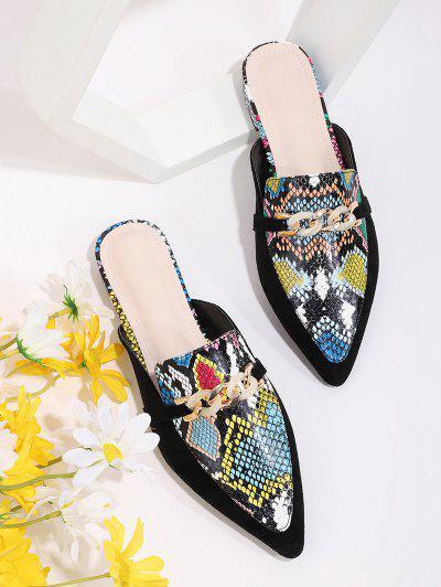 Snakeskin Pattern Chain Slides Flat Shoes - Multi-a Eu 38
