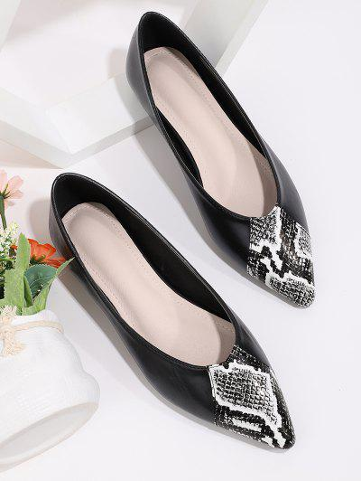 Snakeskin Panel Pointed Toe Flat Shoes - Black Eu 38