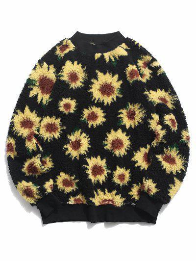 Sunflower Pattern Fluffy Pullover Sweatshirt - Black L