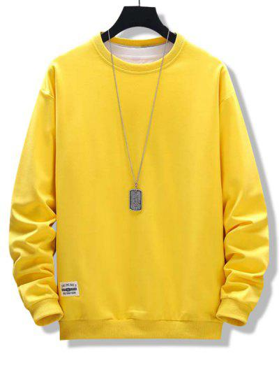 Letter Patched Ribbed Trim Sweatshirt - Bright Yellow Xs