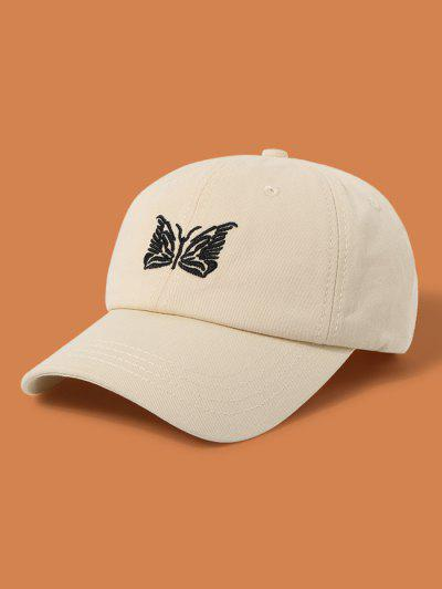 Embroidery Butterfly Adjustable Baseball Cap - Beige