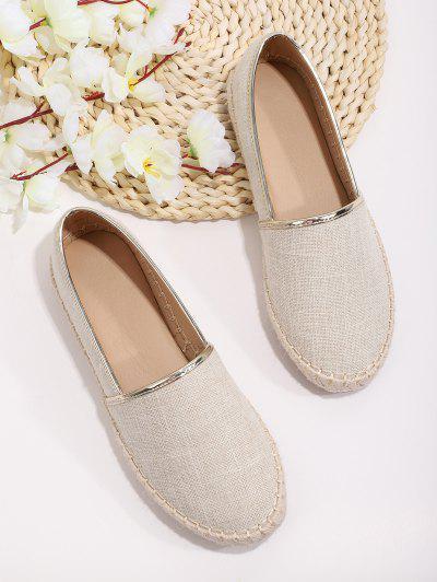 Sapatos De Palha De Desenho Simples Para Mulheres - Branco Morno Ue 39