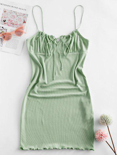 ZAFUL Ribbed Lettuce Tie Cami Mini Dress - Sea Green S