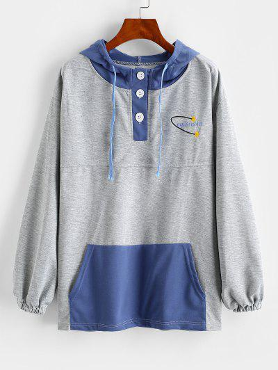 Letter Star Embroidered Pocket Button Placket Hoodie - Blue