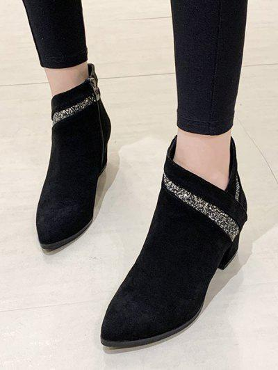 Pointed Toe Glitter Embellished Boots - Black Eu 38