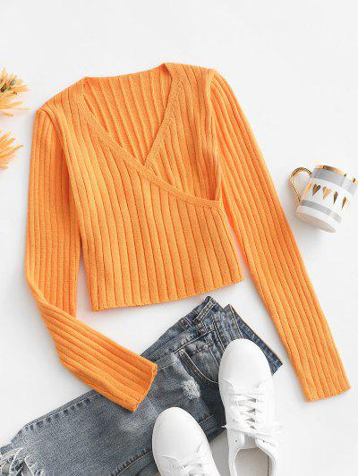 Ribbed Surplice Slim Knit Sweater - Orange