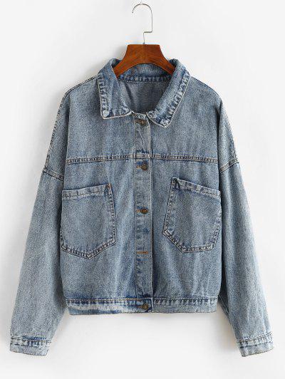 Button Up Oversized Pockets Denim Jacket - Light Blue L