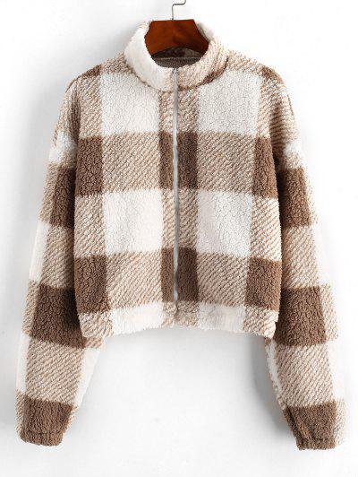 ZAFUL Full Zip Plaid Teddy Coat - Brown Bear S
