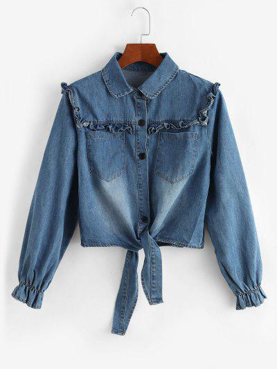 Tie Front Frilled Button Up Denim Jacket - Light Blue M