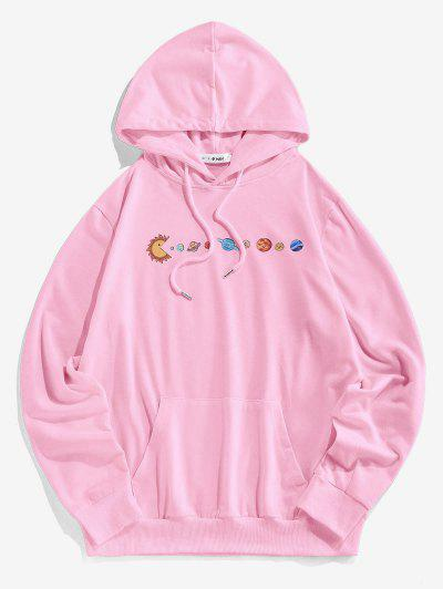 ZAFUL Cartoon Solar System Print Funny Hoodie - Light Pink S