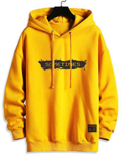 Drawstring Fleece Lined SOMETIMES Graphic Hoodie - Bright Yellow 2xl