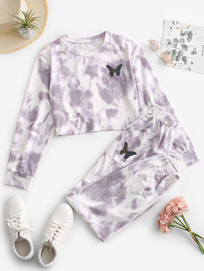 ZAFUL Tie Dye Butterfly Two Piece Sweat Jogger Pants Set - Light Purple Xl
