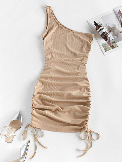 ZAFUL Ribbed Cinched One Shoulder Bodycon Dress - Khaki S