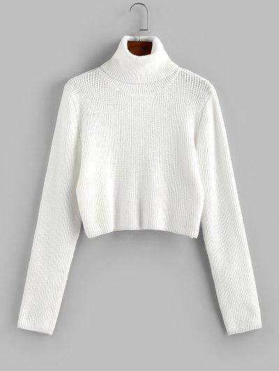 ZAFUL Turtleneck Plain Crop Sweater - White M