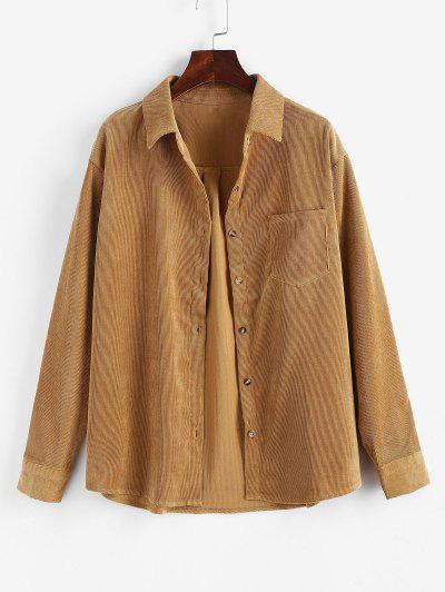Corduroy Pocket Shirt Jacket - Yellow M