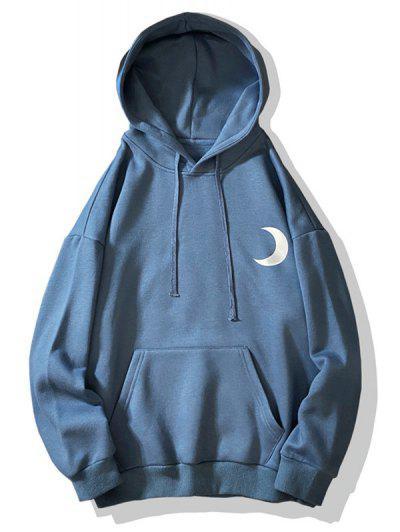 Pullover Fluorescence Moon Printed Fleece Hoodie - Blueberry Blue Xl