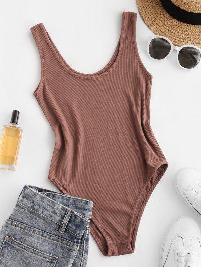 Plain U Neck Ribbed Bodysuit - Chocolate S