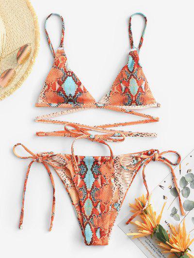 ZAFUL Ribbed Leopard Snakeskin Tanga Wrap Bikini Swimwear - Orange M