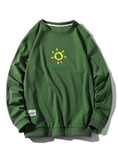 Sun Print Crew Neck Casual Sweatshirt - Green M