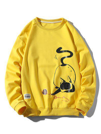Playing Cat Print Crew Neck Casual Sweatshirt - Yellow Xl