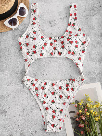 ZAFUL Strawberry Ribbed Cutout O Ring One-piece Swimsuit - White S