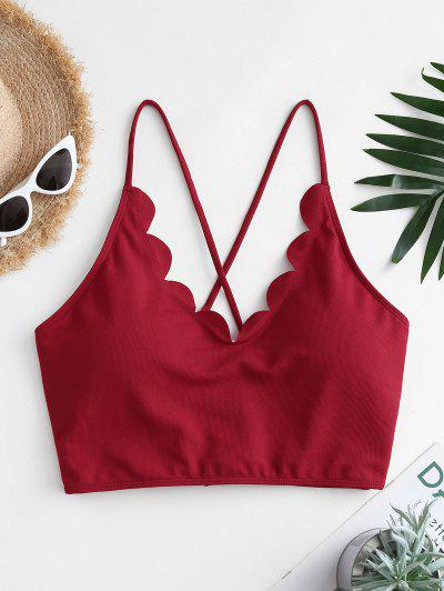 ZAFUL Bikini Top Festoneado De Talla Grande Con Encaje - Color Rojo Oscuro Xxl