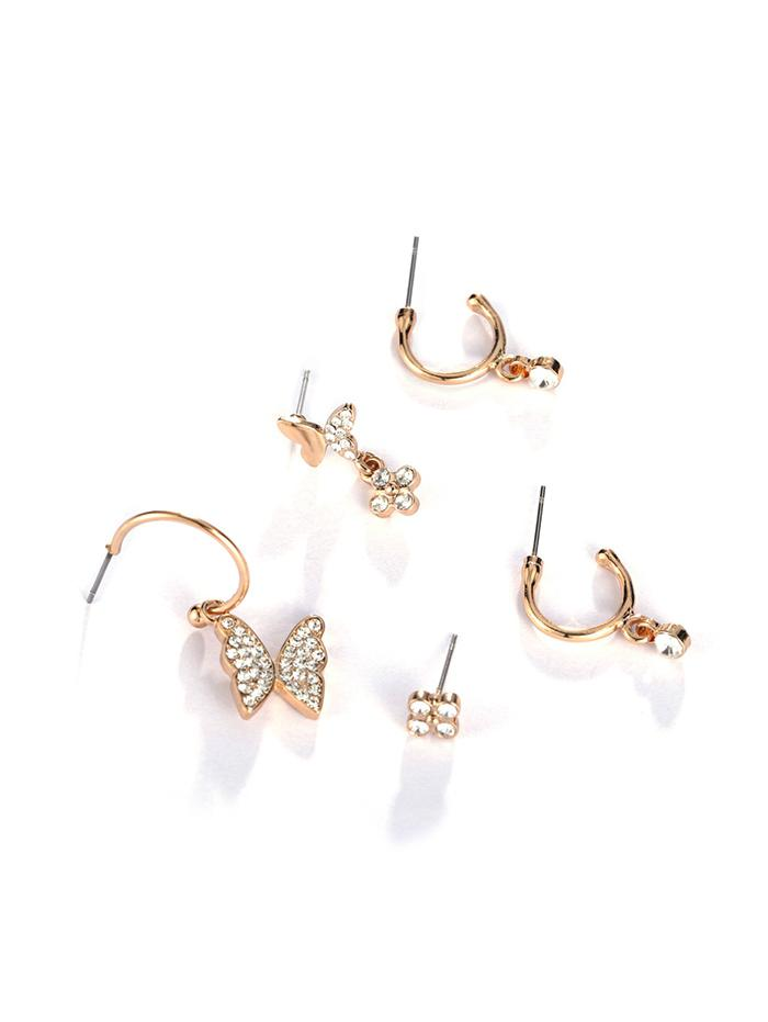 5Pcs 18K Gold Plated Butterfly Earrings Set