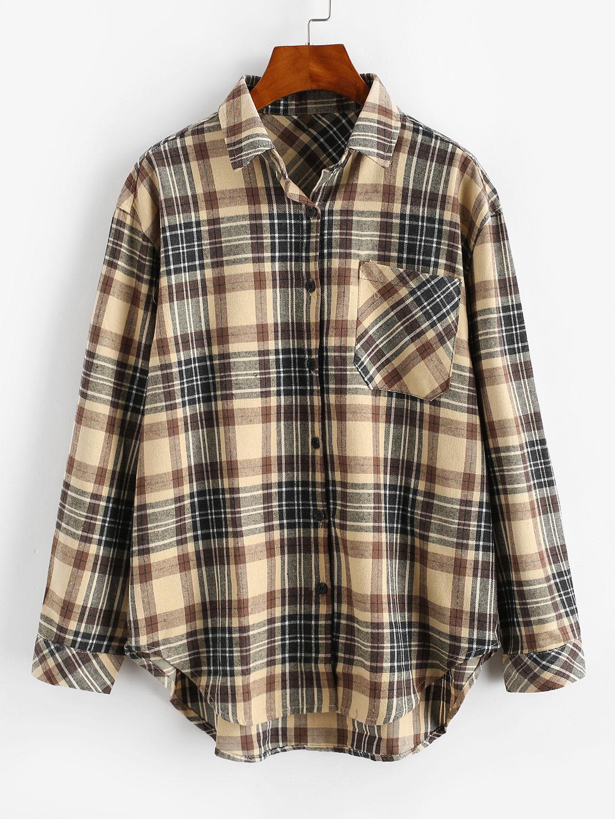 Plaid Pocket Button Up Shirt