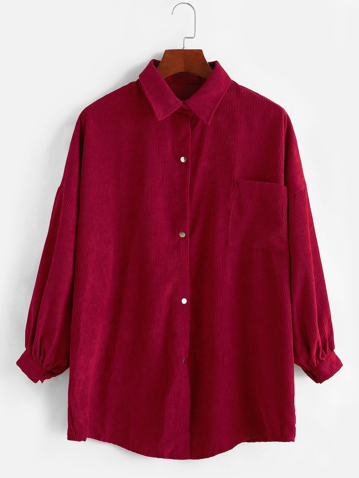 Snap Button Pocket Corduroy Boyfriend Shirt
