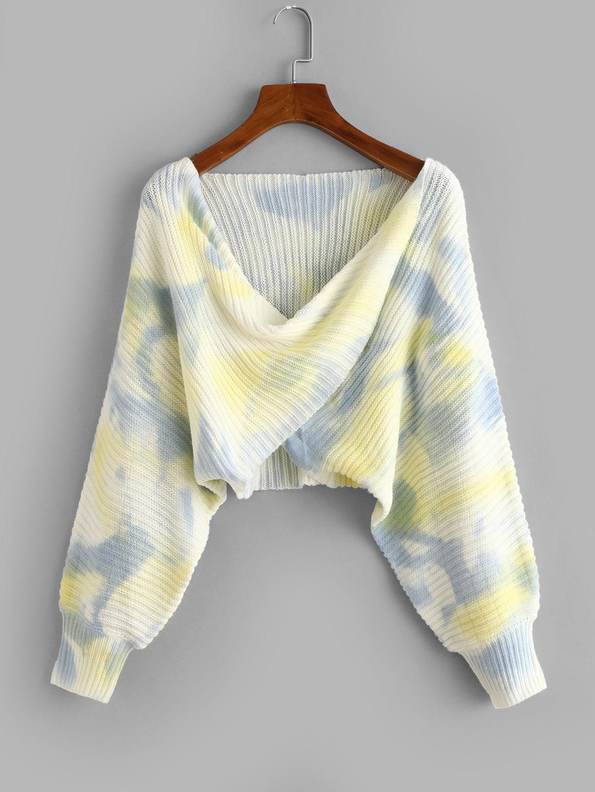 Tie Dye Twist Draped Short Sweater