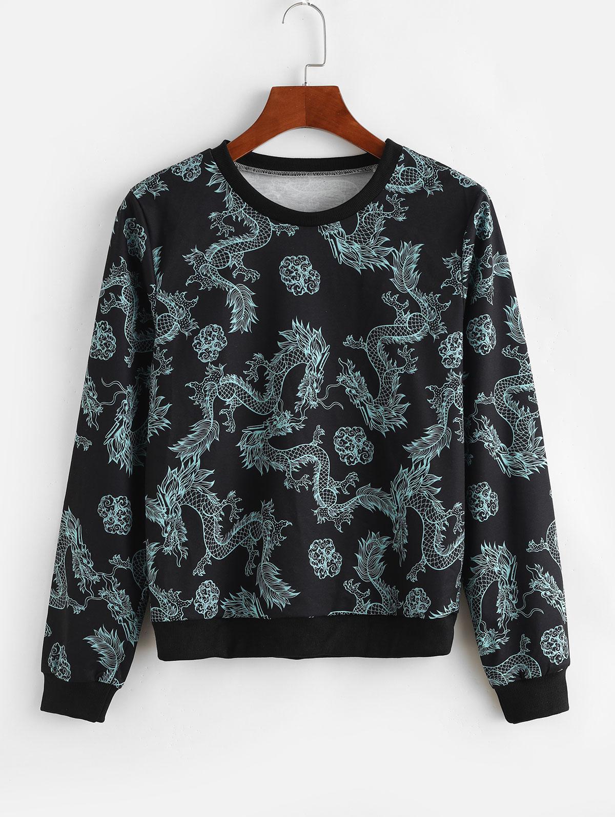 Dragon Print Chinoiserie Sweatshirt