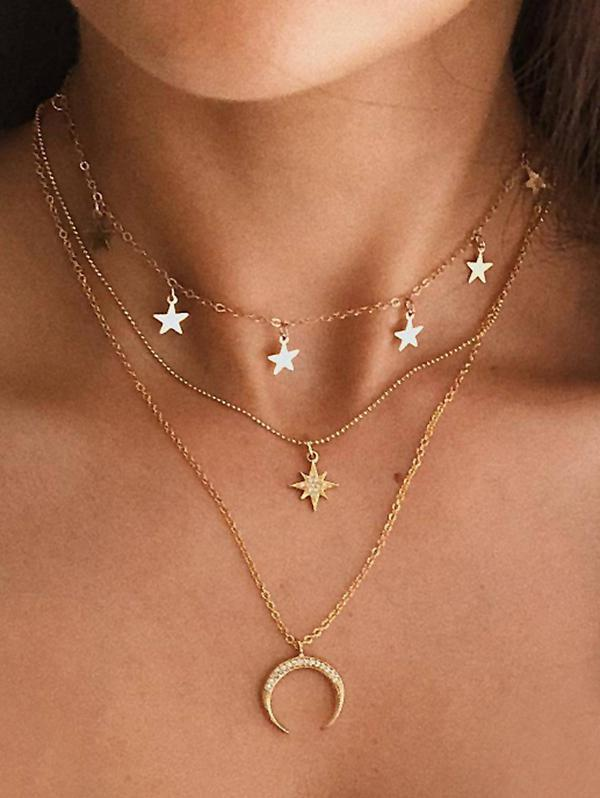 Rhinestone Moon Star Multilayered Chain Necklace