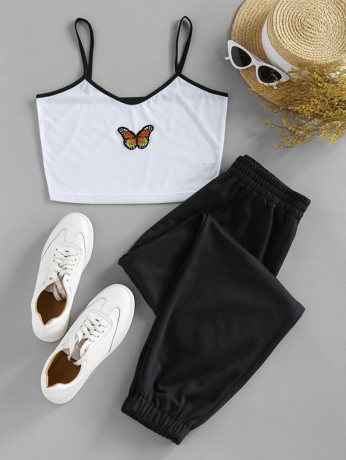 ZAFUL Butterfly Crop Top and Pants Two Piece Set