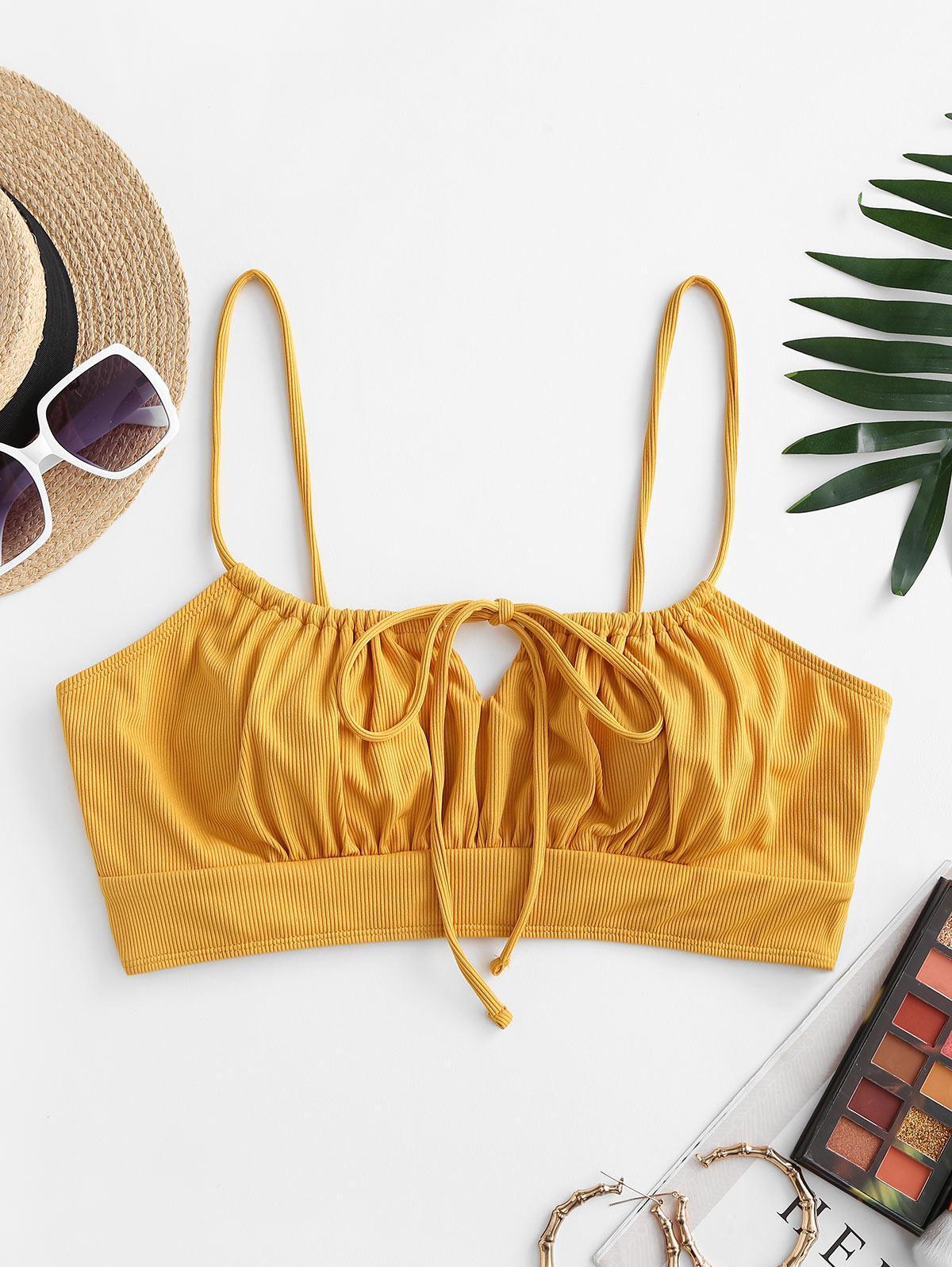 ZAFUL Plus Size Ribbed Tie Front Bikini Top