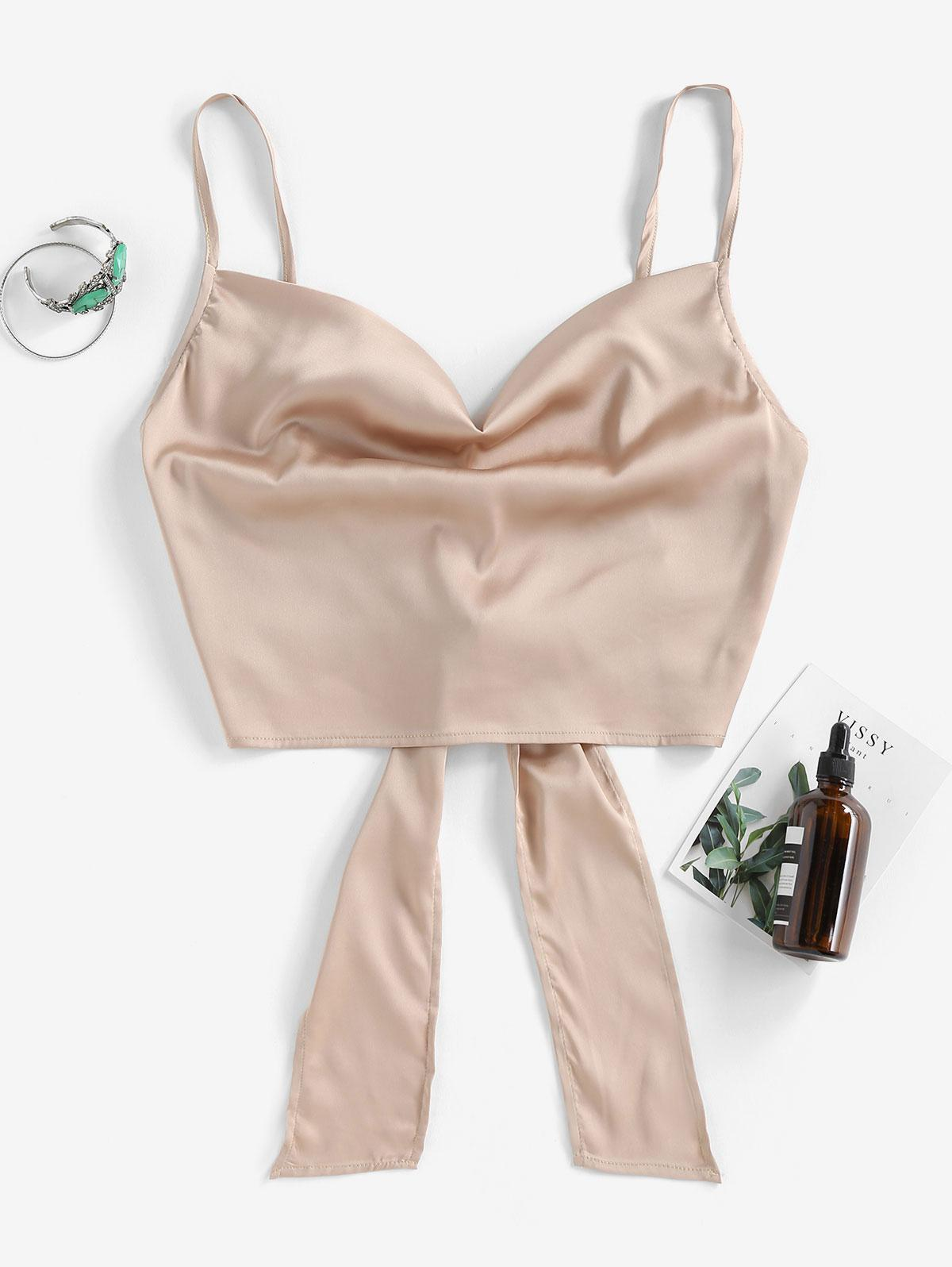 ZAFUL Cropped Tie Back Satin Cowl Front Cami Top