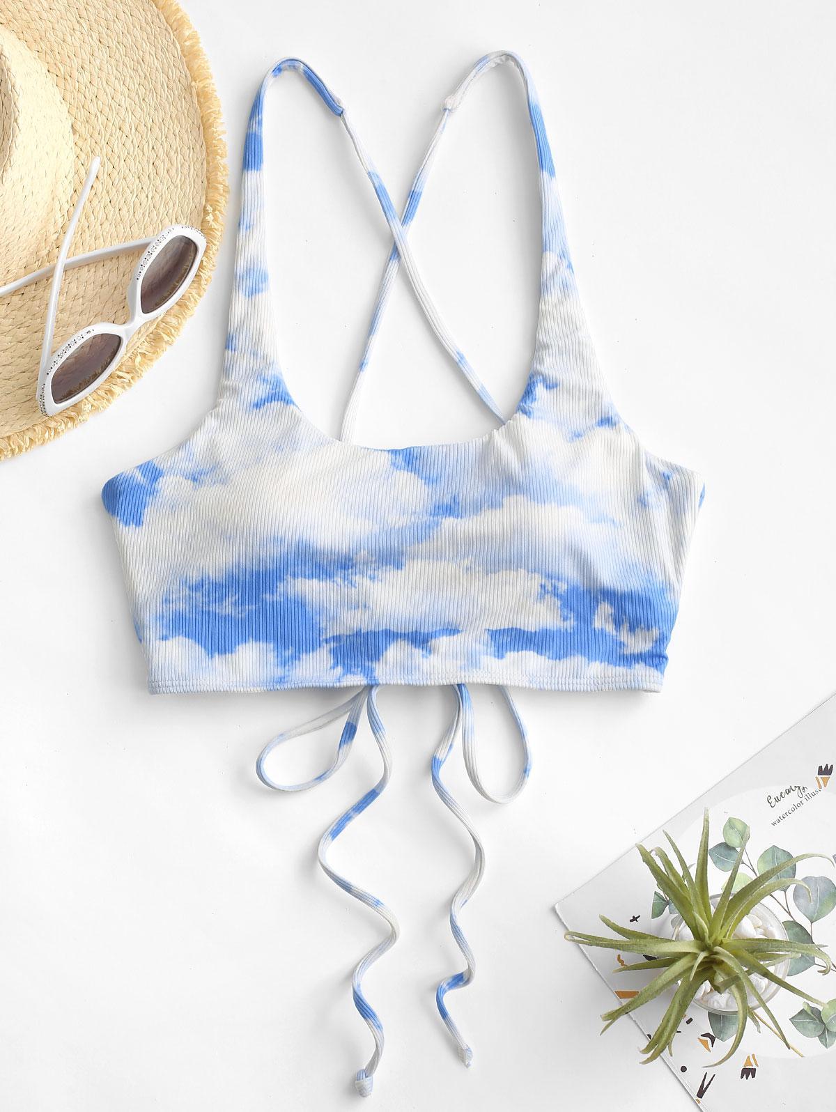 ZAFUL Haut de Bikini Côtelé Nuage Imprimé à Lacets M Bleu clair